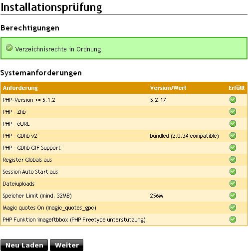 Screenshot nach erfolgreicher Installation von Online Shop Veyton 4.0 CE