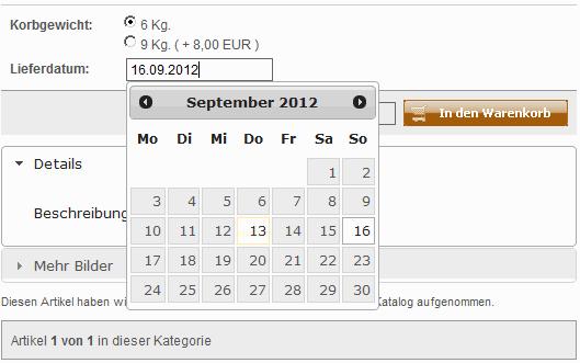 Auswahl eines Lieferdatum im Online Shop xtcmodifield