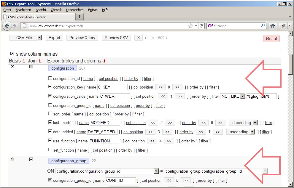 Zur Auswahl der Exportdaten werden die entsprechenden Spalten der jeweiligen Tabellen ausgewählt. Durch einen Klick auf die Tabelle werden alle Spalten der Tabelle angezeigt. Für jede Spalte können verschiedene Kriterien definiert werden. So lassen sich die Spalten entsprechend der gewünschten Ausgabe positionieren und sortieren. Auch kann für jede Spalte ein individueller Name für den CSV-Export vergeben werden. Und schließlich kann anhand verschiedener Filter die Ausgabe der Datensätze gesteuert werden.