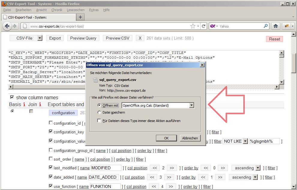Die generierte CSV-Datei kann sofort mit einer beliebigen Anwendung geöffnet oder lokal gespeichert werden.