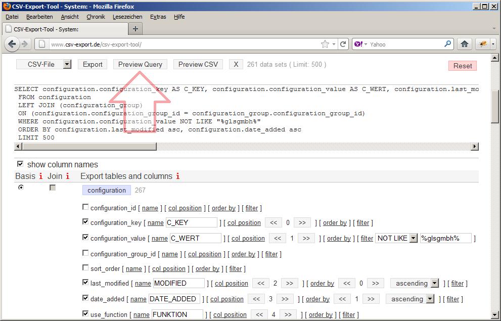 Für technisch Interessierte oder zur Fehlersuche kann die generierte mySQL-Abfrage angezeigt werden.