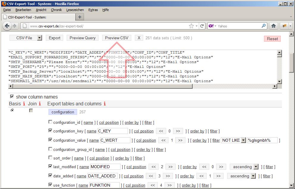 Bevor die CSV-Datei exportiert wird, empfiehlt sich die Vorschau der Daten. Stimmen Struktur Datenauswahl kann die CSV-Datei exportiert werden.