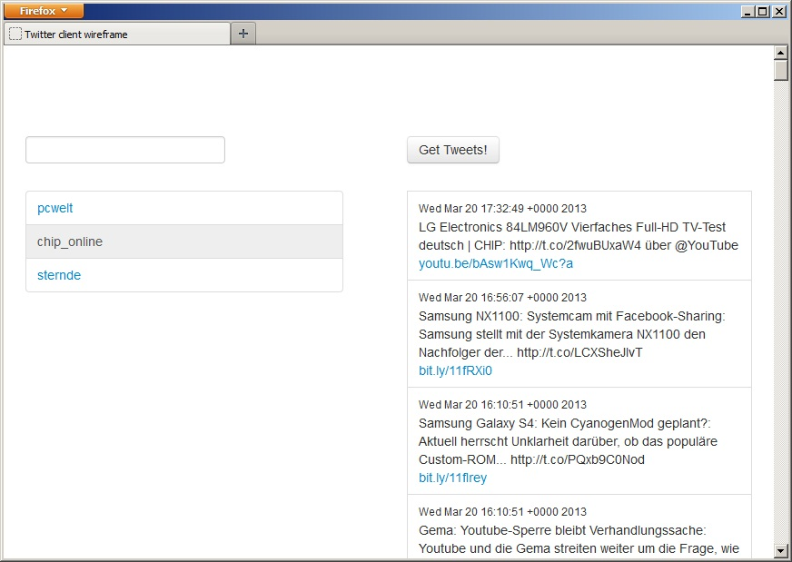 Twitter Client Javascript