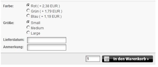 Artikel Detailansicht mit Freitextfeldern und Option Select Template mit Datumsauswahl mit dem Freitextfeld für Modified eCommerce Shopsoftware 1.06