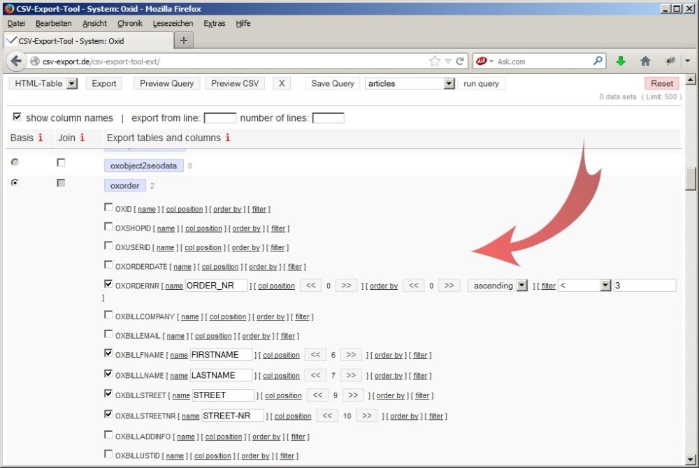 Auswahl der Tabellen und Felder zur automatischen Erstellung von mySQL-Abfragen