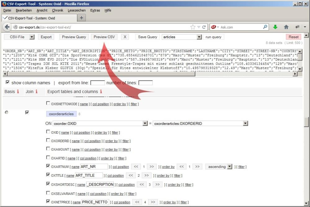 Vorschau der Daten bei der automatischen Erstellung von mySQL-Abfragen