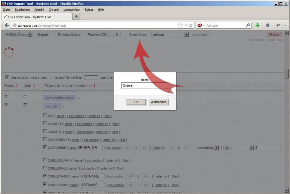Speichern der automatisch erstellten mySQL-Abfrage