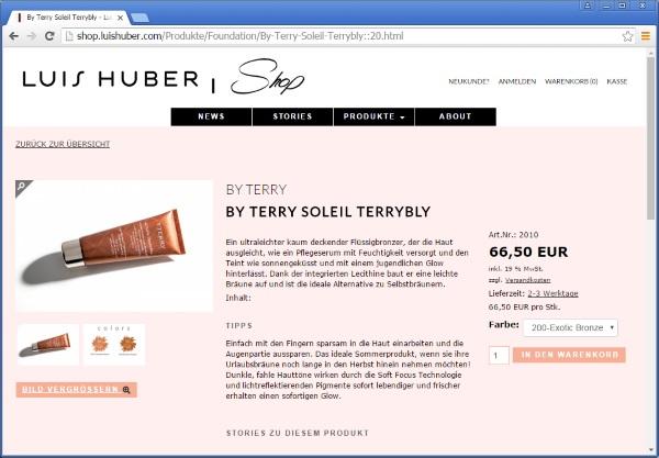 Online Shop für Visagist Luis Huber aus München